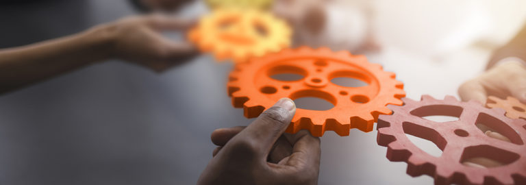 Gears are joined together and form a whole