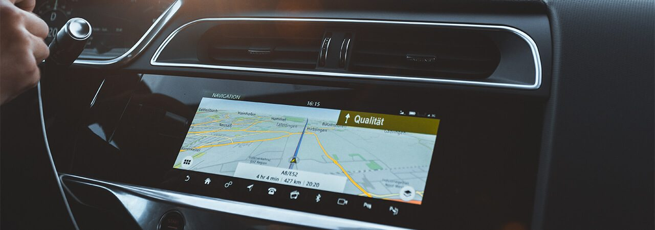 Navigation system in the car that shows the way to quality
